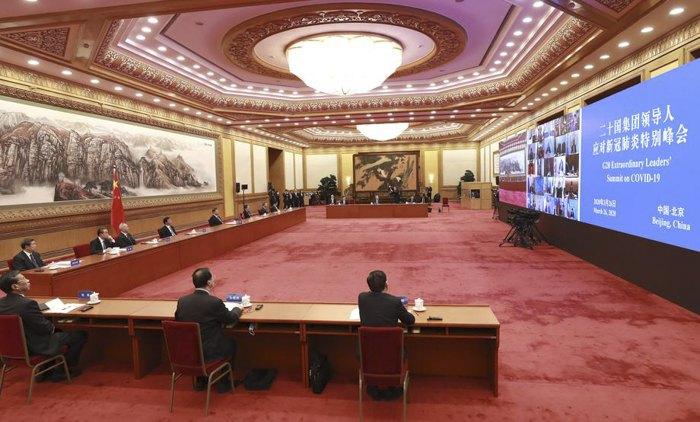 Во время онлайн-саммит лидеров G20 по COVID-19.