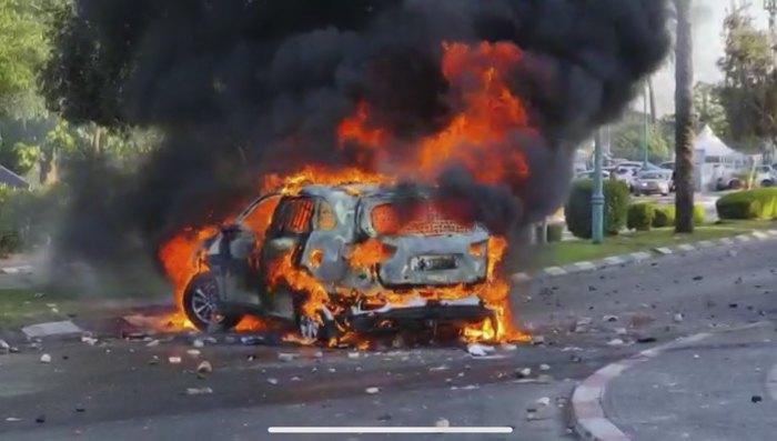 Підпалена автівка в місті Лод