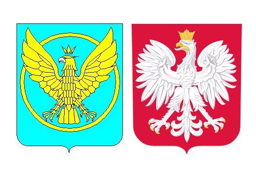 Герби Коломиї (ліворуч) і Польщі