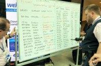 В британском аэропорту персонал пишет информацию о рейсах вручную на белых досках