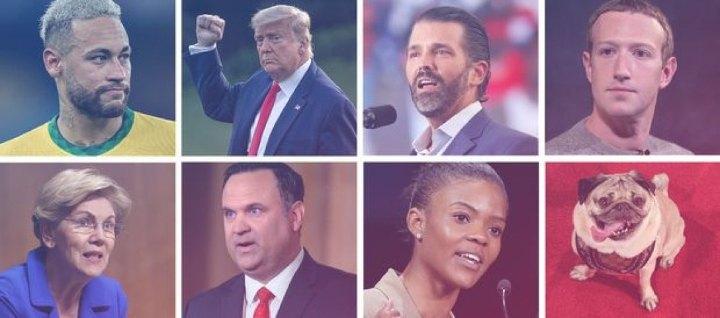 У верхньому ряду Неймар, Дональд Трамп, Дональд Трамп-молодший і Марк Цукерберг, а в нижньому ряду — Елізабет Воррен, Ден Скавіно, Кендес Овенс і Мопс Дуг