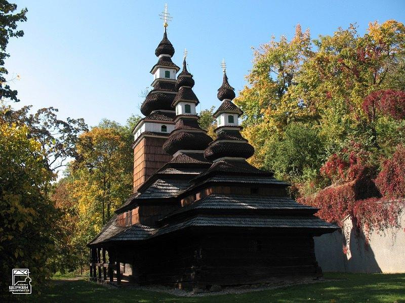 Церква середини XVIII ст., перенесена у Прагу із закарпатського села Медведівці у 1929. Згоріла у 2020.