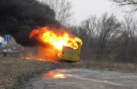 В Лубнах сожгли автобус титушек из Днепропетровска