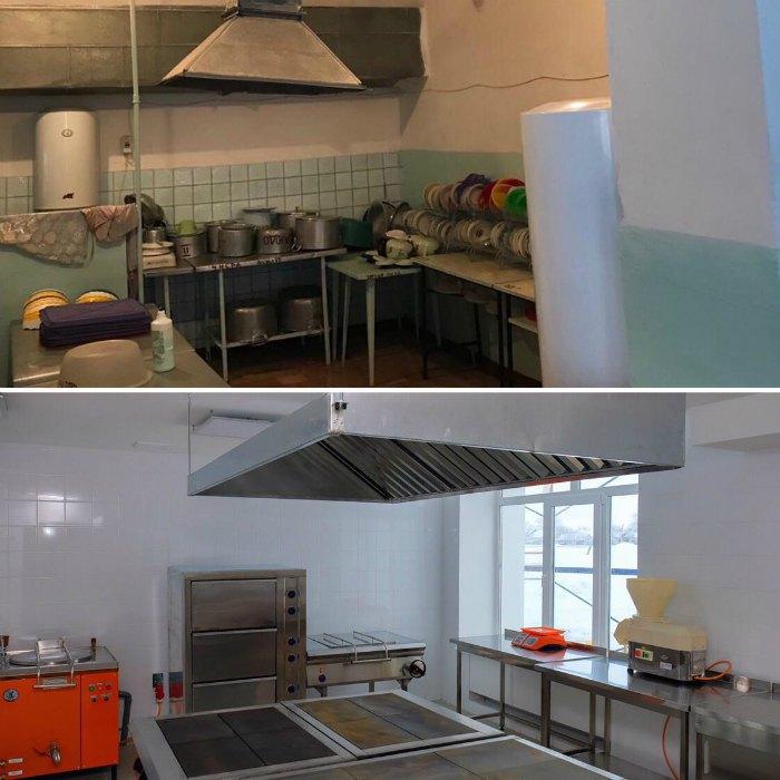 Кухня школи до і після реконструкції