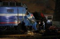 В Москве электричка столкнулась с пассажирским поездом