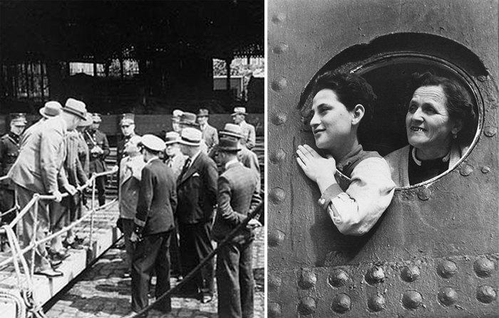 Слева: Капитан «Сент-Луиса» Густав Шрёдер ведёт в порту Антверпена переговоры о получении беженцами разрешения на въезд. Справа: Еврейские беженцы на борту корабля.