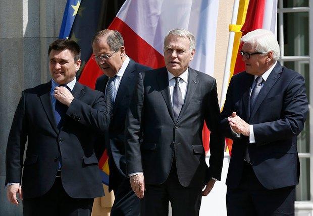 (Слева направо)Павел Климкин, Сергей Лавров, Жан-Марк Айро и Франк-Вальтер Штайнмайер