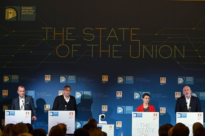 Cлева-направо: Манфред Вебер, Ги Верхофштадт, Ска Келлер и Франс Тиммерманс во время конференции во Флоренции, Италия, 2 мая 2019