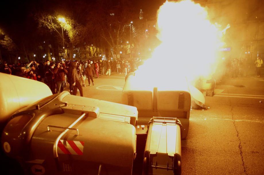 Протести проти ув'язнення Пабло Хаселя в центрі Барселони, 19 лютого 2021 р.