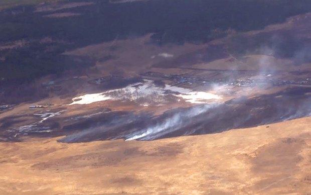 Вид на пожар с вертолета