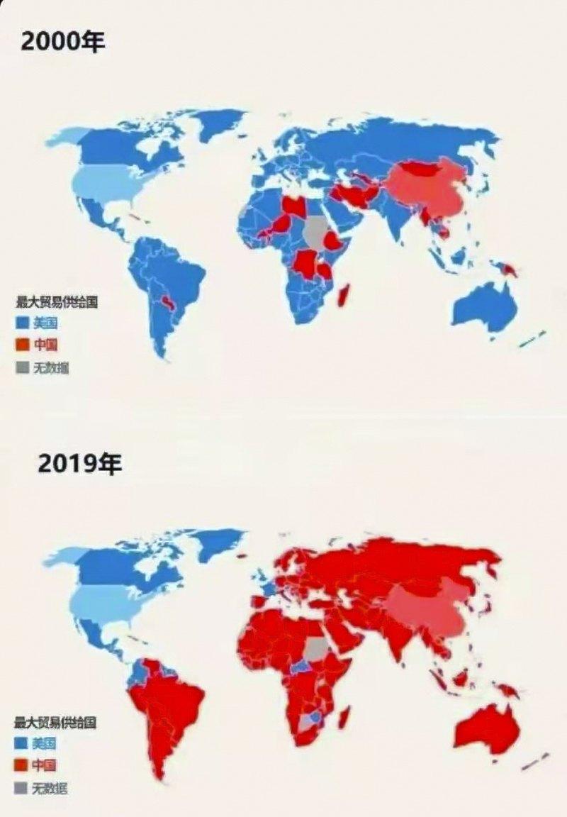 Динамика изменения мировой торговли. Синим цветом – страны, где товарооборот с США больше товарооборота с Китаем. Красным цветом – страны, где товарооборот с Китаем больше товарооборота с США.