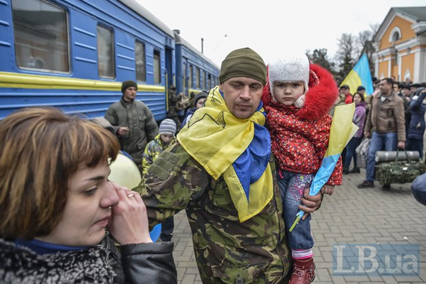 Во время встречи бойцов 72ой бригады в Запорожье