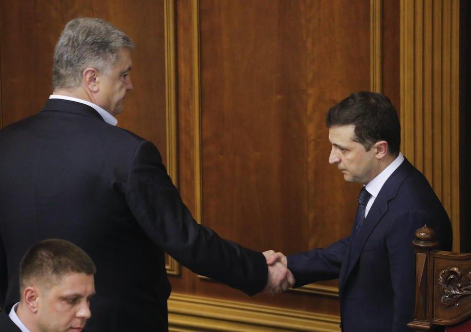 Петр Порошенко и Владимир Зеленский во время внеочередной сессии парламента, 4 марта 2020 г.