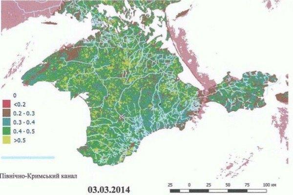 Результати опрацювання супутникових даних в АР Крим про стан вегетації в березні 2014 року...