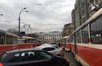 В Киеве из-за ДТП образовалась пробка из 21 трамвая