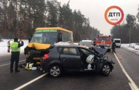Под Киевом в ДТП попала маршрутка и две легковушки, есть погибший