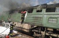 В Луганской области сгорел тепловоз грузового поезда