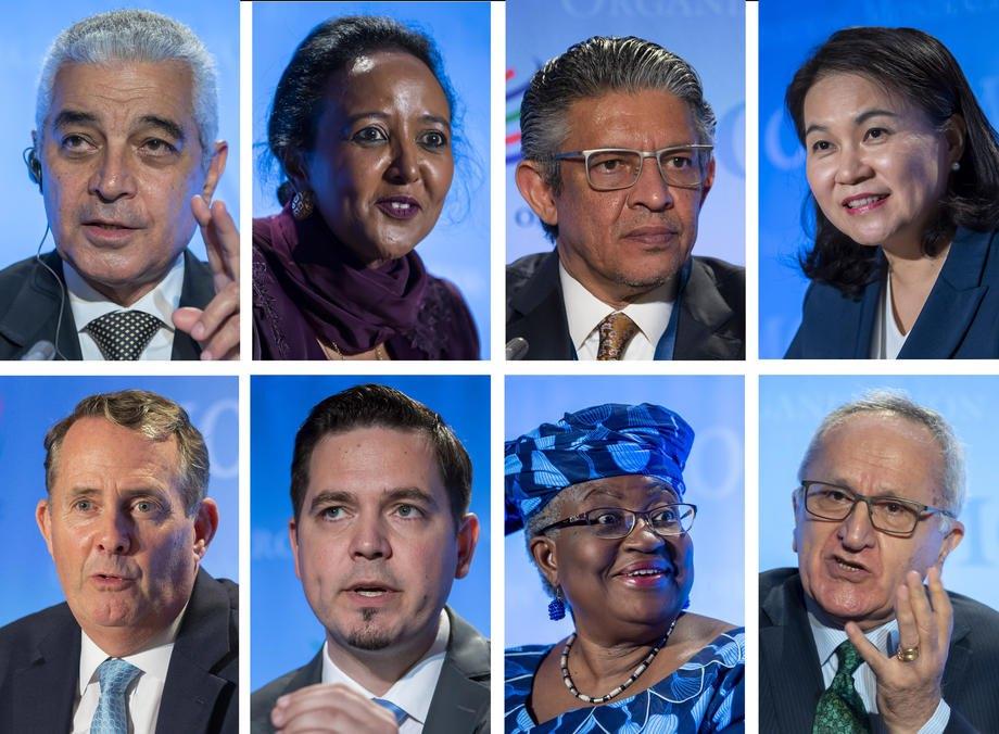 Кандидати на посаду глави СОТ (зліва-направо, зверху-вниз): Абдель Хамід Мамдух (Єгипет), Аміна Мохамед (Кенія), Мохаммад Мазіад Аль-Тувайджрі (Саудівська Аравія), Ю Мен Хі(Корея), Ліам Фокс, (Сполучене Королівство), Тудор Уліановскі(Молдова), Нгозі Оконджо-Івеала(Нігерія) та Сеаде Курі (Мексика)