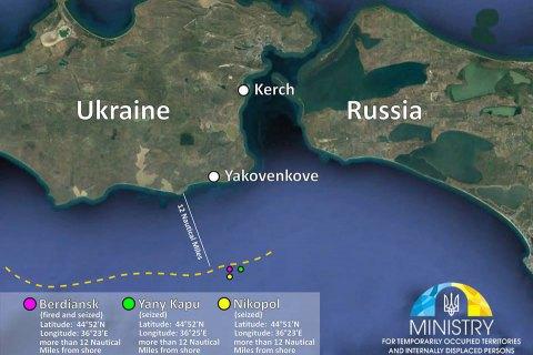 Российские военные переместили и замаскировали захваченные украинские катера