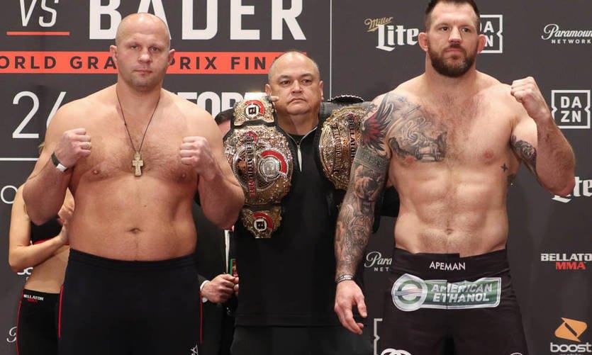Федор Емельяненко (слева) и Райан Бейдер