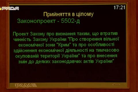 """Нардепи скасували вільну економічну зону """"Крим"""""""
