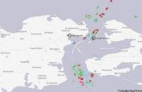 Біля Керченської протоки скупчилося кілька десятків суден, що прямують в українські порти