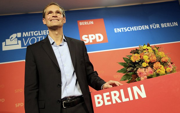 Бургомистр Берлина Майкл Мюллер в штаб-квартире партии СДПГ в Берлине.