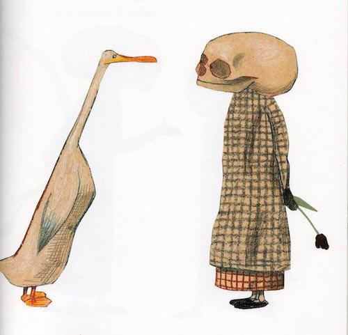 """Иллюстрация из книжки """"Утка, Смерть и тюльпан"""""""