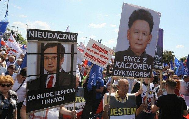 """Лідер партії """"Закон і справедливість"""" в образі Кім Чен Іра. За ґратами - міністр юстиції Польщі Збіґнєв Зебро"""