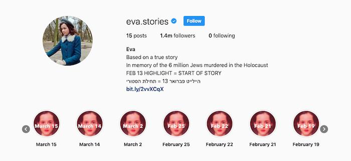 """Скриншот аккаунта """"Истории Евы"""" в инстаграме"""