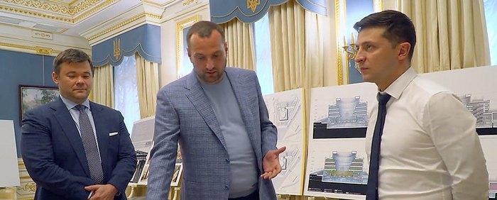 Андрій Богдан( зліва), Андрій Вавриш та Володимир Зеленський