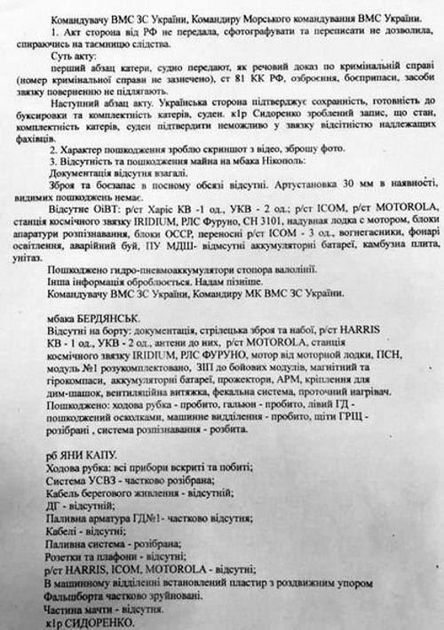 Список пограбованого майна українських кораблів