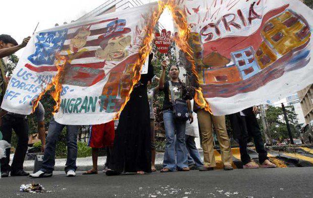 Акция протеста в Филлипинах против действий США в Сирии