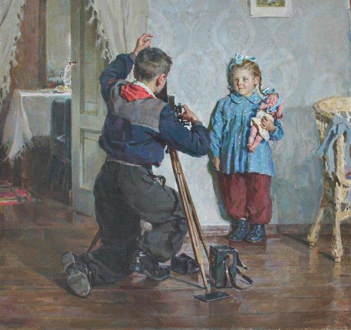 """Божий Михаил. """"Таня, не моргай"""". 1954. Из собрания Национального музея во Львове им. Андрея Шептицкого."""