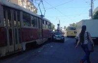 В Киеве не разминулись трамвай и Google-мобиль
