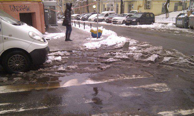 Симпатичная лужица на переходе на улице Малая Житомирская