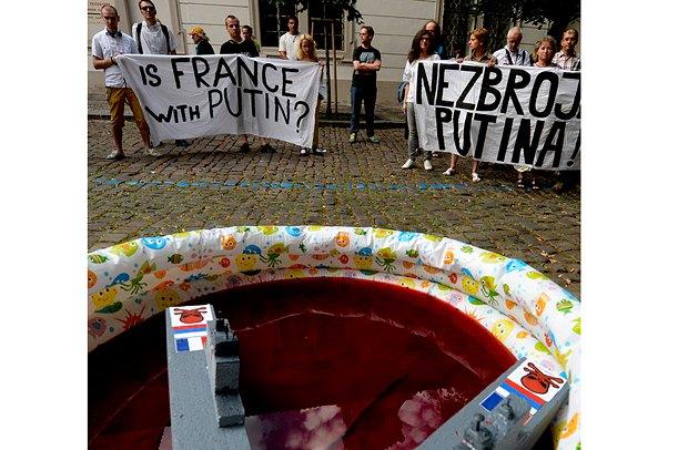 Акция протест против проекта «Мистраль» в Праге