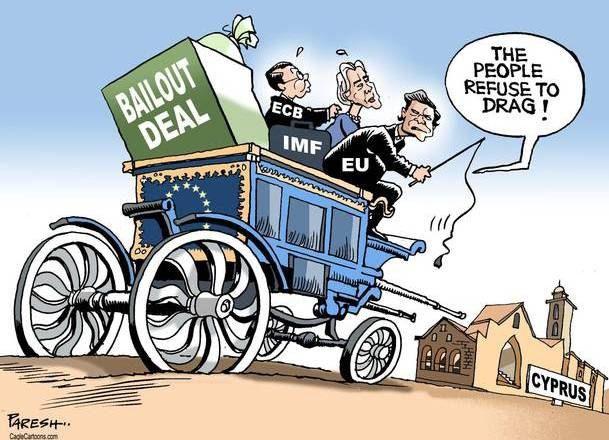 В телеге МВФ, ЕЦБ и Евросоюз, везут деньги для Кипра. Евросоюз говорит: Люди отказываются нас тянуть!
