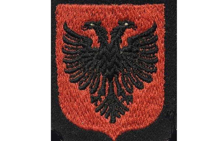 Шеврон дивізії 21 гірської дивізії «Скандербег». Обидва символи використовуються у сучасному гербі Албанії.