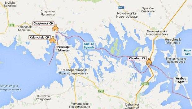 Расположение пунктов пропуска. Карта из тематического отчета ОБСЕ Свобода передвижения через административную границу с Крымом от 19 июня 2015 года