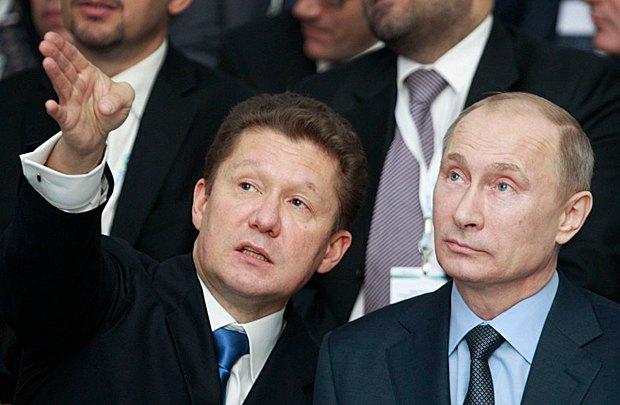 Глава Газпрома Алексей Миллер и президент РФ Владимир Путин