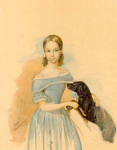 Портрет дівчини з собакою. Акварель. 1838