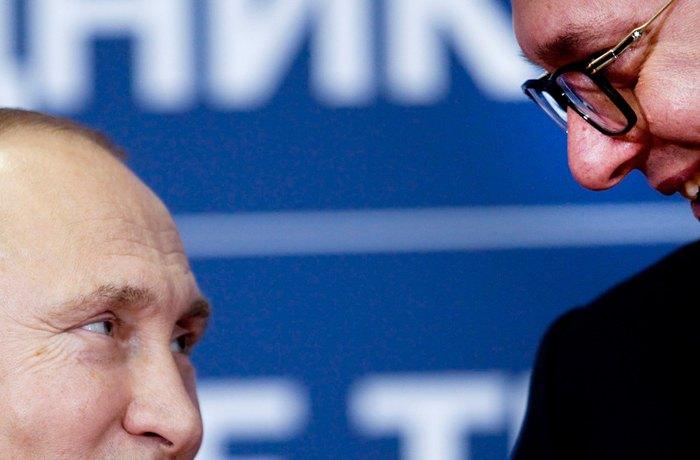 Президент РФ Володимир Путін і президент Сербії Олександр Вучич під час зустрічі в Кремлі