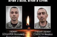ЗСУ назвали імена загиблих біля Водяного військових