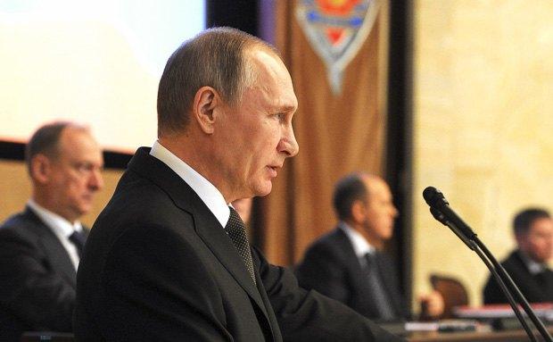 Путин выступает на коллегии ФСБ