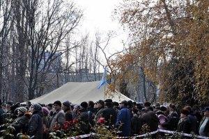 В Донецке чернобыльцы установили новую палатку вместо снесенной