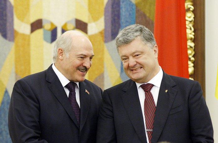 Александр Лукашенко и Петр Порошенко во время встречи в Киеве.