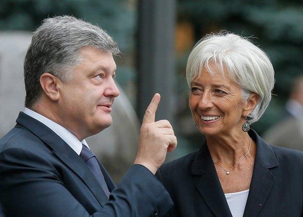 Президент Петр Порошенко и глава МВФ Кристин Лагард во время встречи в Киеве, Украина, 6 сентября 2015 года.