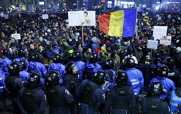 Акция протеста против правительства в Бухаресте, 2 февраля 2017 года