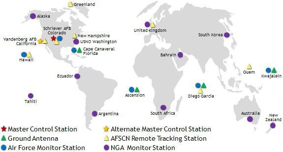 карта розташування станцій GPS